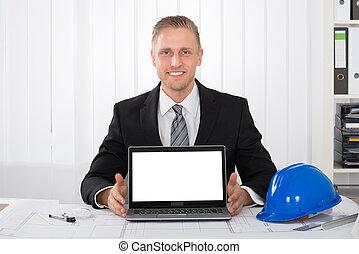 bleu, sien, projection, ordinateur portable, architecte, impression, sur