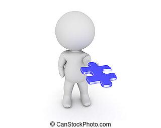 bleu, sien, puzzle, caractère, main, étendre, paume, morceau, dehors, 3d