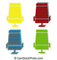 bleu, signe, gree, rouges, jaune, vector., siège avion, illustration.