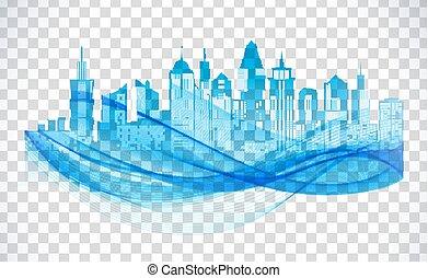 bleu, silhouette, arrière-plan., horizon, cityscape, transparent, icône