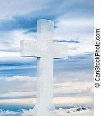 bleu, silhouette, ciel, croix, contre