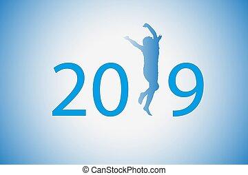 bleu, silhouette, figure, arrière-plan., danses, 2019, instead, girl, était, 1.