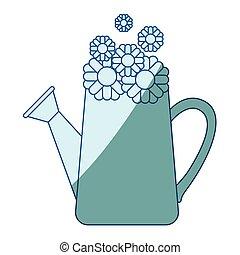 bleu, silhouette, intérieur, arrosage, tournesols, boîte, ombrager