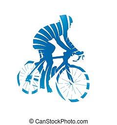bleu, silhouette, résumé, cyclisme, isolé, cycliste, vecteur, rayons