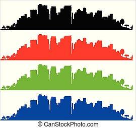 bleu, silhouette, sityscape, sur, vert, noir, blanc rouge