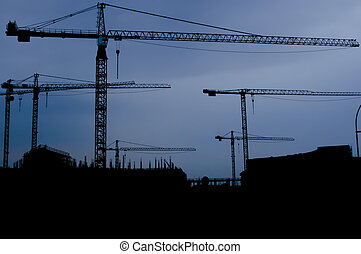 bleu, silhouetted, grues, ciel, site, contre, construction