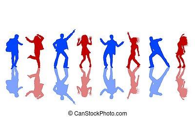 bleu, silhouettes, rouges, danse