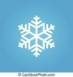 bleu, simple, graphic., isolé, arrière-plan., snowflake blanc, icône