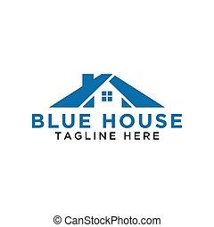 bleu, simple, maison, vecteur, conception, gabarit, logo