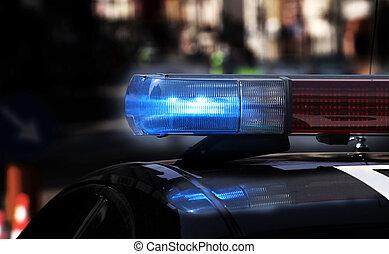 bleu, sirènes, police, ville, voiture, barrage routier, pendant, clignotant