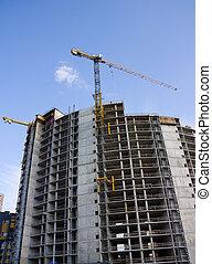 bleu, site, construction, ciel, grue