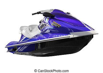 bleu, ski, vue, jet, devant