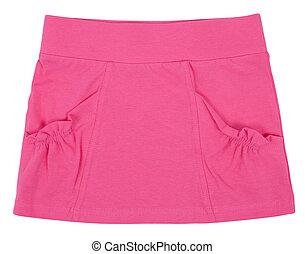 bleu, skirt., femme, isolé, enfant, blanc, ou