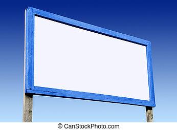 bleu, sky., grand, planche, vide, blanc, publicité
