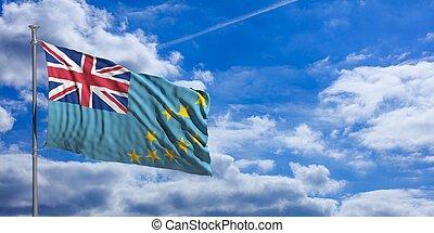 bleu, sky., tuvalu, illustration, drapeau ondulant, 3d