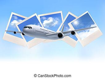 bleu, sky., voyage, photos, vecteur, fond, devant, avion
