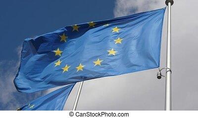 bleu, slo-mo, printemps, ciel, drapeau, venteux, temps,...