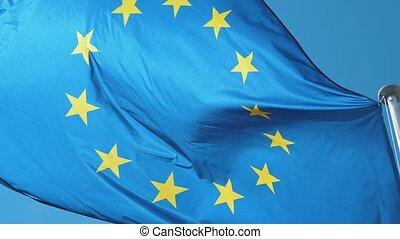 bleu, slo-mo, printemps, voler, ciel, venteux, drapeau,...