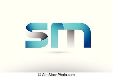 bleu, sm, alphabet, m, gris, s, conception, lettre, logo, 3d