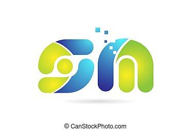 bleu, sm, combinaison, alphabet, m, s, conception, lettre,...