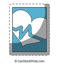 bleu, smarphone, coeur, cardiologie, icône
