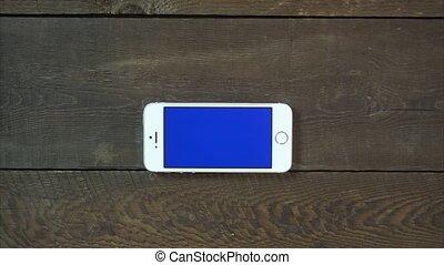 bleu, smartphone, écran, haut, main, swipes