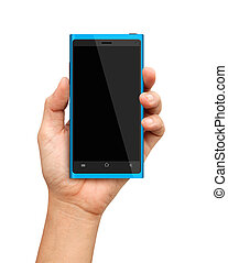 bleu, smartphone, écran, possession main, vide
