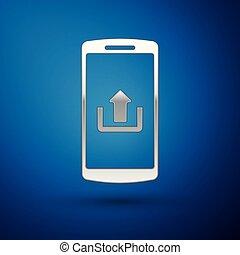 bleu, smartphone, isolé, illustration, envoyer un fichier par transfert de données en une ordinateur, arrière-plan., vecteur, argent, icône