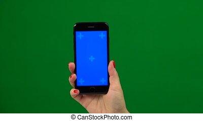 bleu, smartphone, mobile, écran, screen., main, vert, tenue