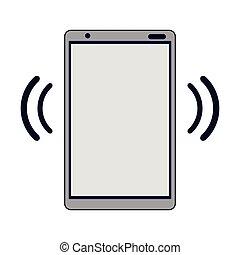 bleu, smartphone, signal, wifi, lignes, internet
