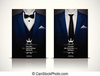 bleu, smoking, complet, cravate, arc