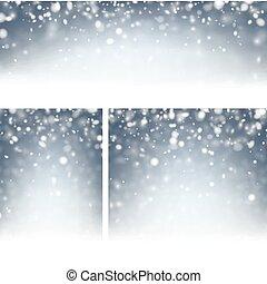 bleu, snow., arrière-plans, hiver