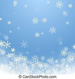 bleu, snow., hiver, heureux, ciel, illustration, noël, joyeux, arrière-plan., year., vecteur, fond, nouveau, blanc, vacances, tomber, flocons neige