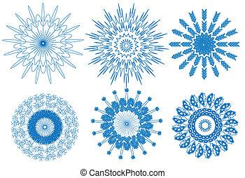 bleu, snowflake blanc, fond