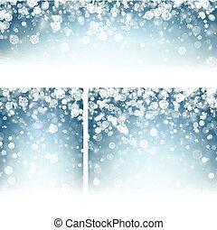 bleu, snowflakes., arrière-plans, hiver