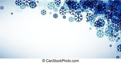 bleu, snowflakes., bannière, hiver