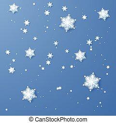 bleu, snowflakes., decoration., isolé, illustration, papier, arrière-plan., vecteur, année, nouveau, noël blanc