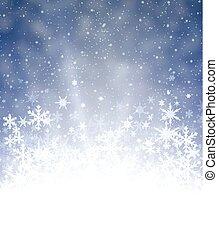 bleu, snowflakes., hiver, fond