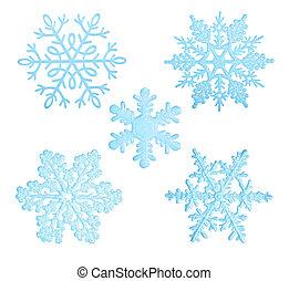 bleu, snowflakes.