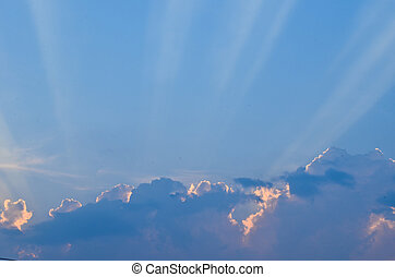 bleu, soleil, beau, nuages, ciel