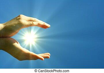 bleu, soleil, ciel, main