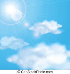 bleu, soleil, ciel, nuageux, briller