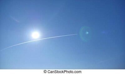 bleu, soleil, ciel, piste, avion, travers