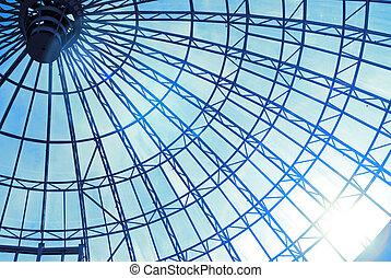 bleu, soleil, moderne, ciel, toit, verre
