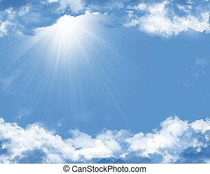 bleu, soleil, nuages, ciel