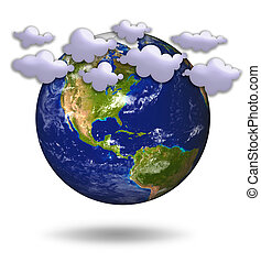 bleu, soleil, planète, 3d, la terre