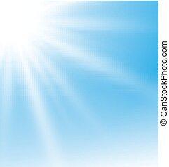 bleu, soleil, résumé, rayons, fond