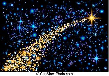 bleu, sombre, étoile, astéroïde, résumé, -, illustration, scintillement, piste, clair, vecteur, météorite, fond, comète, tomber, tir, noël, toile de fond