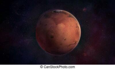 bleu sombre, espace, rouges, mars, planète