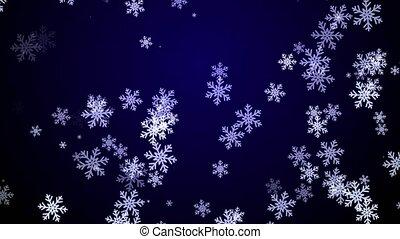 bleu, sombre, flocons neige, fond, automne